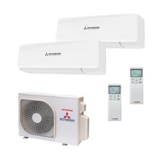 MITSUBISHI HEAVY Klimaanlage Wandgerät Multi Split Set SRK25ZS-W + SRK20ZS-W / SCM45ZS-S 2 + 2,5 kW farbig