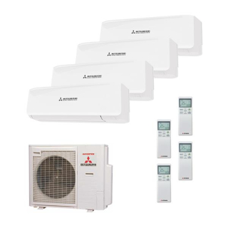 MITSUBISHI HEAVY Klimaanlage Wandgerät Multi Split Set 4 x SRK20ZS / SCM71ZM-S 4 x 2 kW farbig