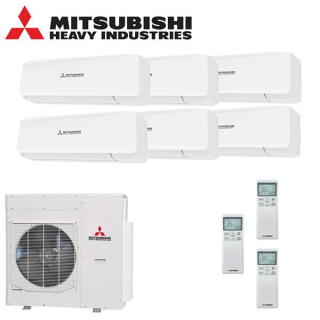 MITSUBISHI HEAVY Klimaanlage Wandgerät Multi Split Set 6 x SRK20ZS /SCM125ZM-S 6 x 2 kW farbig