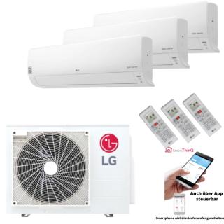 LG Klimaanlage Deluxe Wandgerät Multi Split Set 3 x DC09RH.NSJ / MU3R21.U21 3 x 2,5 kW