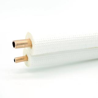 """20m Isoliertes CU-Rohr, Isol. schwerentflammbar 9mm -  3/8"""" + 5/8"""" 0,8mm (ungebördelt)"""