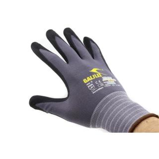 Royaltec Nylon-Strick-Handschuhe, Micro-Nitrilschaum-Beschichtung auf Innenhand und Fingerkuppen, grau/schwarz.