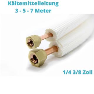 "Isoliertes CU-Rohr, Isol. schwerentflammbar 9mm 1/4"" + 3/8"" (gebördelt) 3 - 5 - 7 Meter"