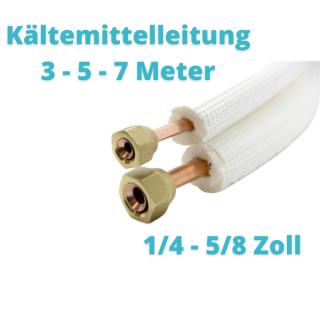 "Isoliertes CU-Rohr, Isol. schwerentflammbar 9mm 1/4"" + 5/8"" (gebördelt) 3 - 5 - 7 Meter"