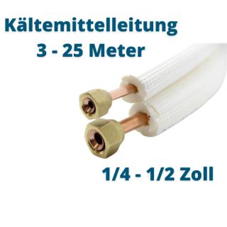 """Isoliertes CU-Rohr, Isol. schwerentflammbar 9mm 1/4"""" + 1/2"""" gebördelt mit Überwurfmuttern"""