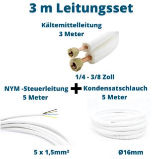 3m Leitungsset 1/4 3/8 Kältemittelleitung + Steuerleitung + Kondensatschlauch