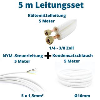 5m Leitungsset 1/4 3/8 Kältemittelleitung + Steuerleitung + Kondensatschlauch