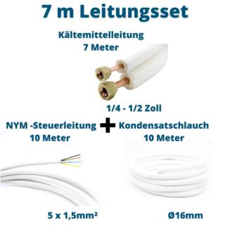 7m Leitungsset 1/4 1/2 Kältemittelleitung + Steuerleitung + Kondensatschlauch
