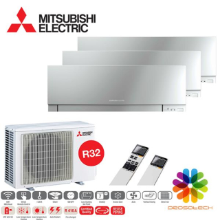 MITSUBISHI ELECTRIC Klimaanlage Premium Wandgerät Multi Split Set 3 x MSZ-EF25VGK-S / MXZ-3F68VF3 3 x 2,5 kW silber