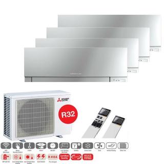 MITSUBISHI ELECTRIC Klimaanlage Premium Wandgerät Multi Split Set 4 x MSZ-EF25VGK-S / MXZ-4F72VF3 4 x  2,5 kW silber