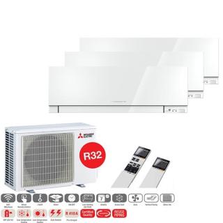 MITSUBISHI ELECTRIC Klimaanlage Premium Wandgerät Multi Split Set 3 x MSZ-EF25VGK-W / MXZ-3F68VF3 3 x 2,5 kW schwarz