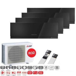 MITSUBISHI ELECTRIC Klimaanlage Premium Wandgerät Multi Split Set 4 x MSZ-EF25VGK-B / MXZ-4F72VF3 4 x 2,5 kW schwarz
