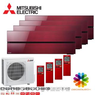 MITSUBISHI ELECTRIC Klimaanlage Diamond Wandgerät Multi Split Set 4 x MSZ-LN25VG2-R / MXZ-4F72VF3 4 x 2,5 kW rubinrot