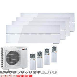 MITSUBISHI ELECTRIC Klimaanlage Diamond Wandgerät Multi Split Set 4 x MSZ-LN25VG2-V / MXZ-4F72VF3 4 x 2,5 kW perlweiß