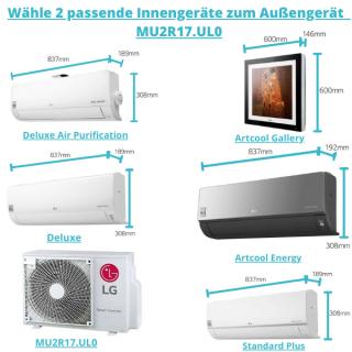 LG Außengerät für 2 Räume als Multisplit Klimaanlage bis max. 70 m² Gesamtfläche 4,7 kW