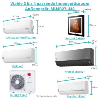 LG Außengerät für 2 bis 4 Räume als Multisplit Klimaanlage bis max. 115 m² Gesamtfläche 7,9 kW