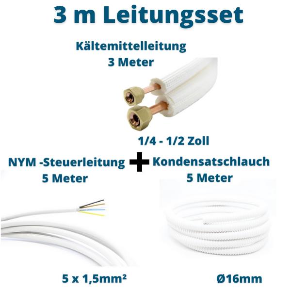 3m Leitungsset für Klimagerät 1/4 1/2 Zoll Kältemittelleitung + Steuerleitung + Kondensatschlauch