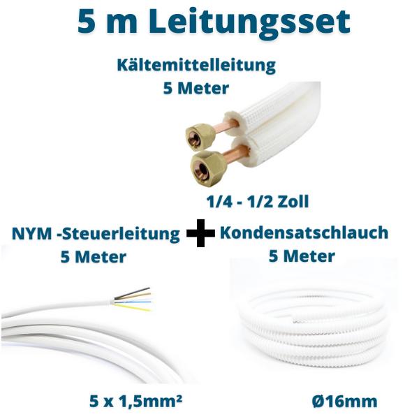 Klimagerät Leitungsset 5m 1/4 1/2 Kältemittelleitung + Steuerleitung + Kondensatschlauch Prosatech GmbH