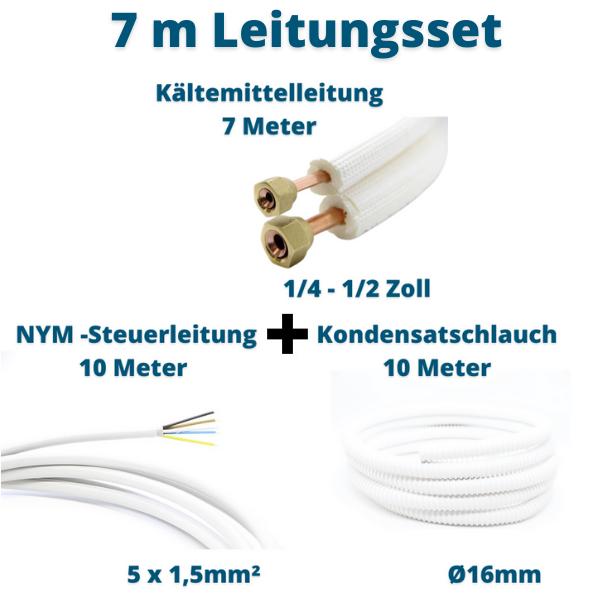 Klimagerät Leitungsset 7m 1/4 1/2 Kältemittelleitung + Steuerleitung + Kondensatschlauch Prosatech GmbH