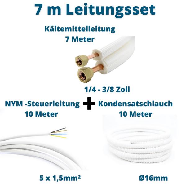 Klimagerät Leitungsset 7m 1/4 3/8 Kältemittelleitung + Steuerleitung + Kondensatschlauch Prosatech GmbH